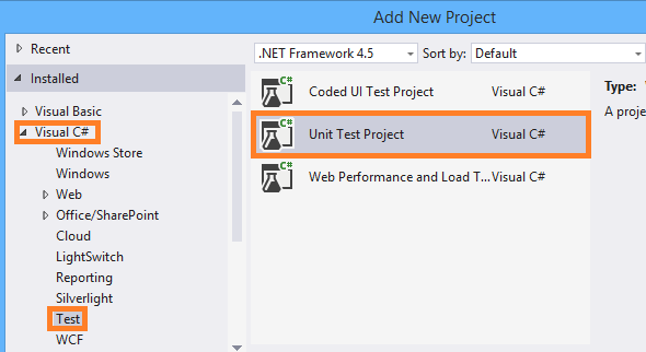 New project unit test
